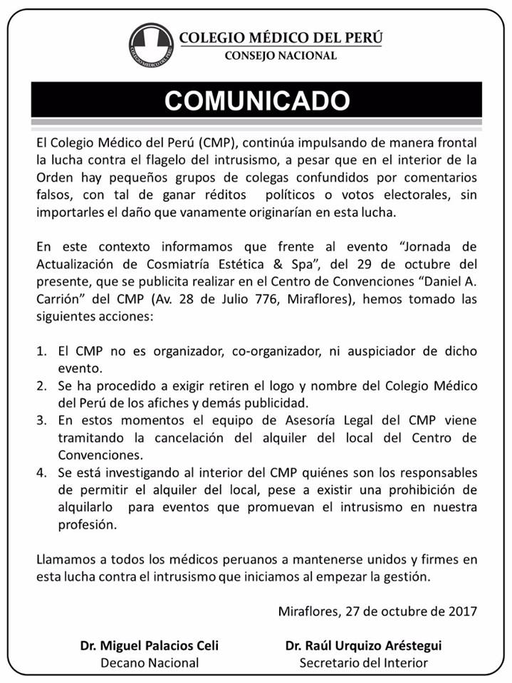 CMP Comunicado Intrusismo